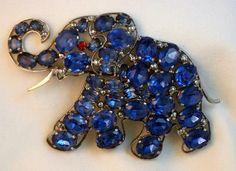 Vintage Elephant Brooch Signed Czechoslovakia Blue Rhinestone