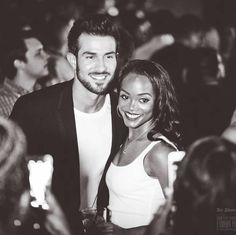 """Bachelorette""star Rachel Lindsay and her fiancé Bryan Abassolo at their engagement party pinterest: b_ox"