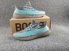Original Adidas Boots Yeezy 350 2017 Superme X Iron Grey Bright Cyan Youth Big Boys Sneakers Adidas Boots, Adidas Sneakers, Sply 350, Kobe Shoes, Adidas Yeezy 350 V2, Adidas Running Shoes, Popular Shoes, Yeezy Shoes, Best Sneakers