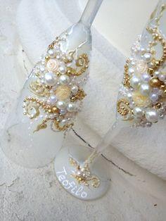 Elegant wedding champagne glasses hand decorated by PureBeautyArt, $58.00