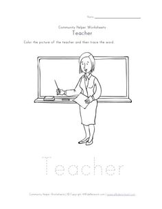 Printables Teacher Helper Worksheets community helpers activity matching worksheet family day care this teacher is part of our collection worksheets color the picture and trace wor
