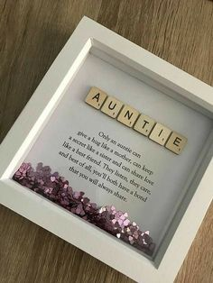 Diy Geschenk Basteln – Scrabble Name Quote Box Frame – Gift Ideas Diy And Crafts, Craft Projects, Crafts For Kids, Baby Crafts, Craft Ideas, Dyi Gift Ideas, Crafts For Sale, Box Frame Ideas Diy Crafts, 31 Ideas