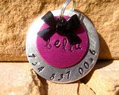 Unique Handstamped Pet ID Tag Layered 2 Disc Bow Dogs. $12.50, via Etsy. Cutest dog tags!!