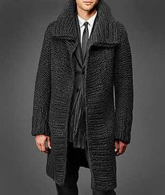 Wear a lace cardigan today! See how a lace cardigan can give your added appeal right here. Crochet Men, Crochet Coat, Crochet Jacket, Knitted Coat, Hand Knitted Sweaters, Crochet Clothes, Sweater Coats, Knit Cardigan, Men Sweater