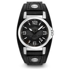 Harley-Davidson Black Leather Cuff Men's Watch