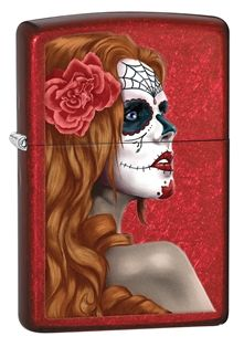 nspired by the Mexican celebration of Day of the Dead, this Candy Apple Red base features a girl with a rose in her hair, her face painted in the Mexican tradition.