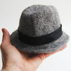 Needle felted mini fedora by Laura Lee Burch