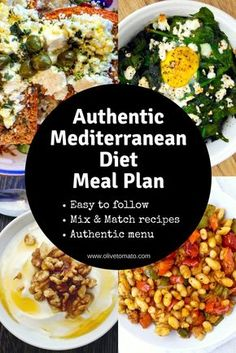 With this easy menu plan, you will get an easy to follow authentic Mediterranean diet meal plan with everything you need to get started: recipes and tips. #mealplan #menu #mediterraneandiet