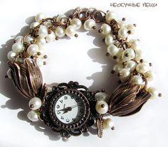 "Купить Часы ""Чарльстон"" - часы, женские часы, часы наручные, наручные часы, белый, медь"