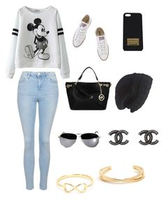 """Untitled #10"" by dremy01 ❤ liked on Polyvore featuring Topshop, Converse, Michael Kors, Laundromat and Chanel"