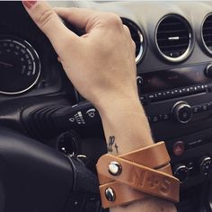 Beautiful cognac camel wrap cuff from Nickel & Suede, styled by the adorable @livinginyellow. #wrapcuff #nickelandsuede #leatherjewelry