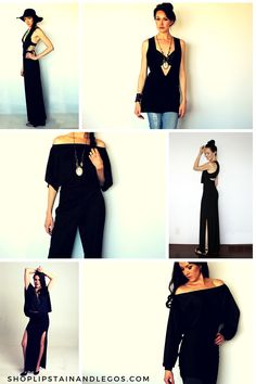 All black outfit inspiration. Dresses, Jumpsuits, Shirts, Tops, Rompers, and skirts.