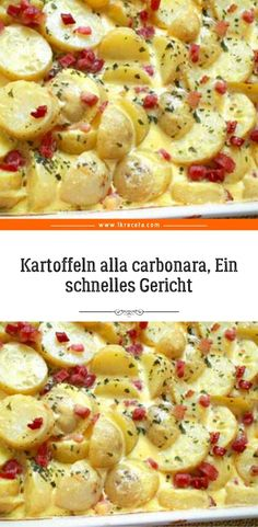 Kartoffeln alla carbonara, Ein schnelles Gericht - Zutaten: 1 kg kartoffeln 1 zwiebel 150 g speck 300 ml sahne 80 g parmesan Imágenes efectivas que l - Classic Meatloaf Recipe Easy, Meatloaf Recipe With Cheese, Beef Meatloaf Recipes, How To Cook Meatloaf, Meat Loaf Recipe Easy, Stuffing Recipes, Chicken Parmesan Recipes, Easy Chicken Recipes, The Great British Bake Off