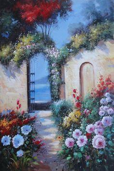 Blooming Flower Garden to Mediterranean Sea Flower,Rural,Mediterranean  Naturalism Oil Painting  36 x 24 inches