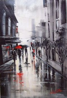 I have a thing for paintings/prints with red umbrellas.