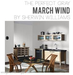 Perfect Gray Wall Color March Winds by Sherwin-Williams.  This post also has amazing tips from their Color Expert.