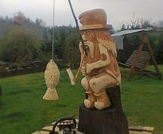 Vodník II. Wood Working, Wood Art, Garden Sculpture, Landscaping, Carving, Outdoor Decor, People, Home Decor, Characters