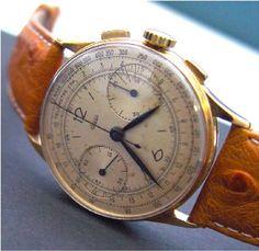 Chronographe Jaeger 1948, REF 12448, cal.285 signé Jaeger, boîtier en or 18kt