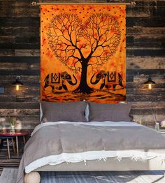 Elephant with tree of life orange tapestry
