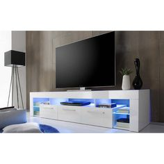 Score Large TV Stand In White High Gloss With Blue LED Light