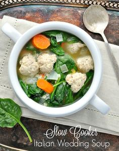 Slow Cooker Italian Wedding Soup - I might try this with frozen meatballs and frozen sliced carrots and slice the spinach thin before adding.