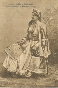 SERBIA Young Serbian Girl In Ethnic Folk Folklore Costume - vintage old ppc