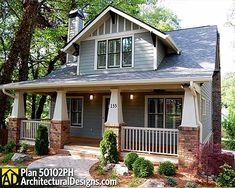 Overhanging eaves and cozy deck are classic Bungalow -style elements of Architectural Designs House Plan 50102PH.
