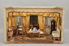 h3k94- Alte Puppenstube mit Einrichtung/ Möbel und Zubehör, um 1900 in Antiquitäten & Kunst, Antikspielzeug, Puppen & Zubehör   eBay!