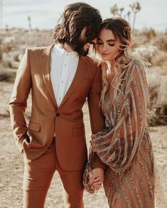This Rose Gold Joshua Tree Wedding Inspiration is Like a Boho Glam Fever Dream This terra cotta colored groom's suit + the bride's rose gold and silver dress are perfect desert wedding attire Wedding Suits, Wedding Attire, Boho Wedding, Brown Suit Wedding, Dream Wedding, Gold Wedding Dresses, Bohemian Bridesmaid, Wedding Desert, Modest Wedding