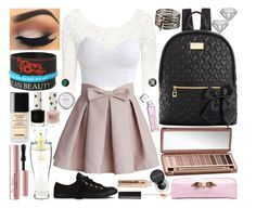 """""""Back to School: First Day"""" by mayciann ❤ liked on Polyvore featuring H&M, Chicwish, Ted Baker, Converse, Victoria's Secret, Betsey Johnson, Chanel, Topshop, Too Faced Cosmetics and Urban Decay"""