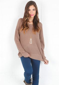 Feel The Piece Asymmetrical Sweater in Squirrel