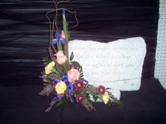 A heart of gold memory stone with flowers