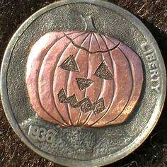 DAVID JONES HOBO NICKEL - HALLOWEEN HOBO - 1936 BUFFALO NICKEL Hobo Nickel, Old Coins, Holiday Themes, David Jones, Carving, Percussion, Halloween, Buffalo, Photograph
