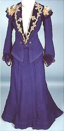 """1904 Rare and Beautiful """"Military Style"""" Tailored Royal Blue Wool, Angora and Velvet 2-piece Trained Walking Suit"""