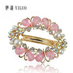 Fabulous Rhinestone Crystal Hollow Butterfly & Pearl Hair Clip Barrette Hair Accessories 5.5cm Long FREE SHIPPING