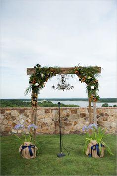 wedding altar ideas #outdoorceremony #weddingaltar #weddingchicks http://www.weddingchicks.com/2014/04/07/playful-pink-and-navy-wedding/