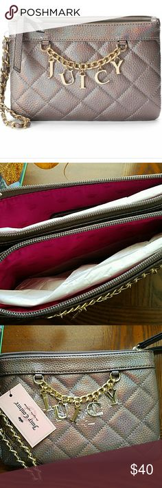 """WEEKEND SALE!!!  NWT Juicy Couture Wristlet  Brand new grey Juicy Couture Wristlet. """"Juicy"""" charm & chain accent. Quilted. Gold tone hardware. Double zipper closure. Two pockets. Faux leather. No stains or damages. Juicy Couture Bags Clutches & Wristlets"""