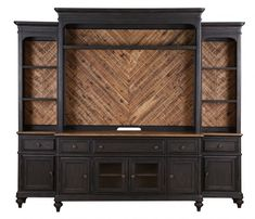 Barnhardt Traditional French Black Natural Acacia Wood Console
