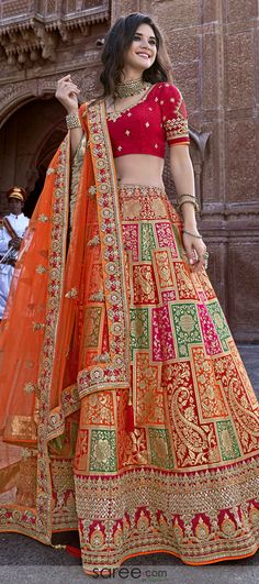 Red and orange banarasi silk lehenga choli with embroidered border . - Red and orange banarasi silk lehenga choli with embroidered border Red and orange banarasi silk lehenga choli with embroidered border Source by - Indian Wedding Gowns, Indian Bridal Lehenga, Indian Gowns Dresses, Indian Bridal Outfits, Indian Bridal Fashion, Indian Fashion Dresses, Dress Indian Style, Indian Designer Outfits, Indian Weddings