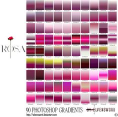 90 rositas for Photoshop I made two set Sourcherry and Rosa. But I think submit one file is good.grd file with 90 gradients and ES Rosa PS.jpg in rar. Feel free to use them wit. Free Photoshop, Photoshop Design, Paint Shop, Metallic Colors, Gradient Color, Bar Chart, Deviantart, Graphic Design, Creative
