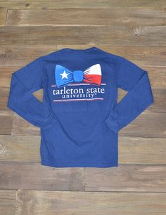 Has Tarleton tied you in? Show your love for Tarleton in this new long sleeve TSU Texan Bow Tie Comfort Color t-shirt! GO TEXANS