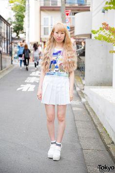 Harajuku Girl in American Apparel Skirt