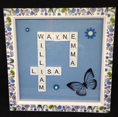 Personalised scrabble picture,With a butterfly & wooden hand painted flowers. Wooden Flowers, Painted Flowers, Scrabble Letters, Blue Back, Mothers Day Presents, Wooden Hand, Gift Guide, Butterfly, Hand Painted