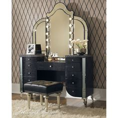 """El Dorado Furniture - Hollywood Swank 20"""" Vanity Bench ($400) ❤ liked on Polyvore featuring home, furniture, benches, black bench, tufted bench, tufted vanity chair, tufted furniture and black furniture"""