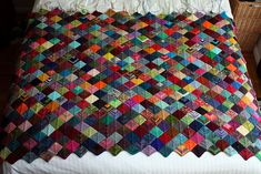 .Mitered Squares Knitted Blanket