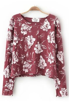 New Look Flower Pullover in Red