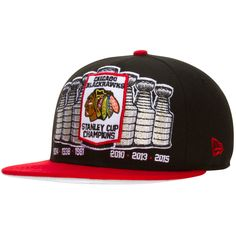 Chicago Blackhawks Black and Red Stanley Cups Snapback Hat by New Era #Chicago #Blackhawks #ChicagoBlackhawks