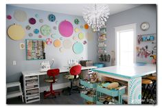 Craft Room Organization - Sugar Bee Crafts. THIS is how I want my desk. room for 2 chairs, plenty of length and storage on both ends.