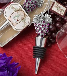 Sparkling Grapes Bottle Stopper in Vineyard Themed Packaging from Wedding Favors Unlimited