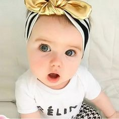 fc74762f12166 baby or toddler girls topknot headband - gold Toddler Headbands